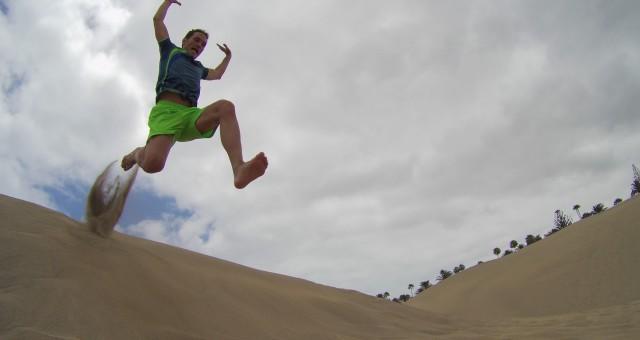 Las dunas de Maspalomas, correr por la playa